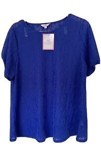Julipa Women Short Sleeve Cobalt Blue T Shirt Top Size 18