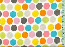 "1/2 yd Snuggle FLANNEL Sherbet Pastel Large 1"" Dots on White BTHY"