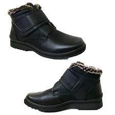 MEN Black Winter Ankle Snow Boots Comfort Strap Slip On Loafer Fur Lined Boots