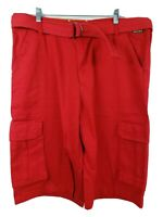 Akademiks Mens Belted Red Cargo Shorts Size 36 Large 6 Pockets Cotton