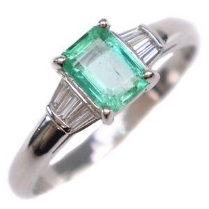 Ring Pt900Platinum/Emerald/diamond #12(JP Size) Women
