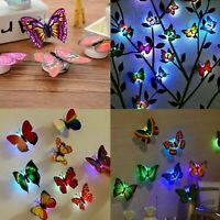 24Pcs 3D Butterfly LED Wall Stickers Glowing Bedroom DIY Home Decor Night light