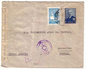 TURKEY - WWII CENSORED COVER TO URUGUAY EGYPT CENSORSHIP RARE DESTINATION