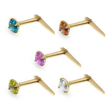9CT GOLD ANDRALOK CUBIC ZIRCONIA 3.0MM NOSE PINS ROUND CZ STUD EARRINGS BOXED