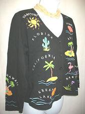 Michael Simon US Vacation Spots Knit Button Up Top Sz PP Black Cotton MultiColor