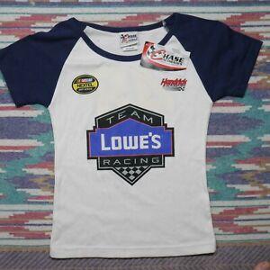 Jimmie Johnson Shirt Ladies Small White Blue Lowes Team Racing Nascar Womens