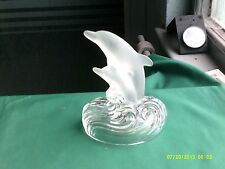 "glass dolphin  ornament, 5 1/4"" tall, base 4 1/4"" x 3 3/4"""
