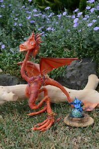 OOAK Artist Dolls Handmade Sculpted Dragon pose-able figure with baby in nest
