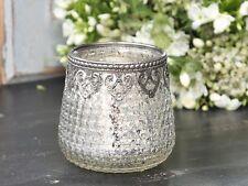 Chic Antique Teelichtglas Windlicht Bauernsilber Shabby Vintage Nostalgie Nr.14