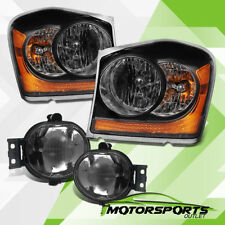 2004-2006 Dodge Durango Black Headlights + Smoke Fog Lights Combo Set