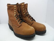 "Work America Men's 8"" Logger Leather Work Boot Soft Toe Brown Size 13 4E"