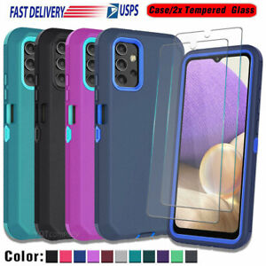 For Samsung Galaxy A32 5G Case Shockproof Hybrid Cover +Tempered Glass Protector