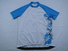 Mens Crane Sports Floral Bike Cycling Jersey Size 42 Medium Blue White Flower