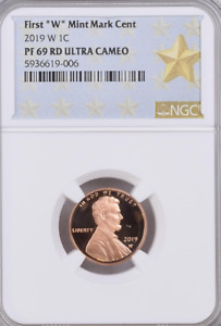 """2019 W 1C First """"W"""" MINT MARK LINCOLN CENT NGC PF69 RD ULTRA CAMEO"""