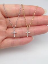 """Sterling Silver Small Tiny Thin Cz Cross Pendant Necklace, 16.25""""+2"""" Girl Ladies"""