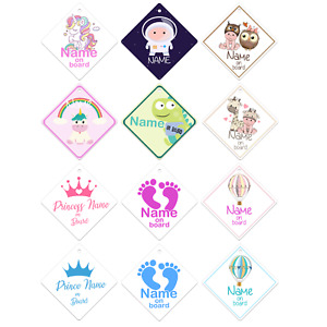 PERSONALISED BABY CAR SIGN   Windows Baby on Board Sign Sticker for Boys Girls