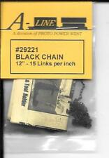 "Black Chain Aline #29221 - 12"", 15 Links Per Inch - 0, H0, S & N Scale"