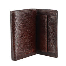 Set of 2- Men Genuine Leather Slim Trifold Wallet Brown Credit Card Coins Purse