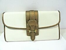 TUSCAN DESIGNS CLUTCH CARRY ALL PURSE BAG WHITE AND BRONZE TONE TILE PLASTIC