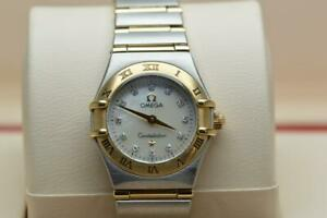 Ladies Omega Constellation 23mm Full Gold Bar Diamond Dial Wristwatch - Boxed