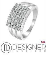 Sterling Silver Cluster Eternity Rows Ring CZ Crystal 925 Wedding Size N O P Q