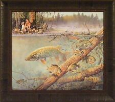 """BEST FRIENDS"" by Scott Zoellick ~22x25  FRAMED PRINT~ Boy Dog Fishing Fish Lake"