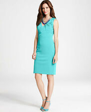 Brand New Ann Taylor Crepe Bow Dress Color Green Size 12