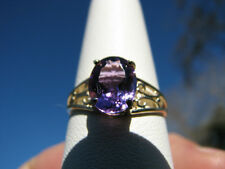 Amethyst Oval Cut Ring 10KT Solid Yellow Gold