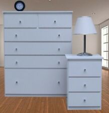 Retro 1 Bedside Table/1 Tall Boy Chest of drawers/Assembled/White/Syd/Mel/Adel