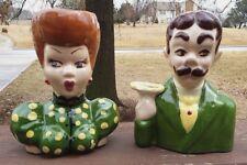 Vintage Lucille Ball I Love Lucy & Ricky Ricardo Ceramic Head Vase Set - RARE!