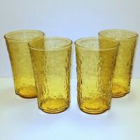 Vintage Amber Gold Drinking Glasses Tumbler Bumpy Pattern Square Bottom Set of 4