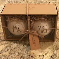 Rae Dunn By Magenta Mr and Mrs Christmas Ornament Set of 2 LL Black Brand New