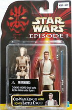 Star Wars Episode 1 Obi-Wan Kenobi (Naboo) Bonus Battle Droid (Hasbro, 1999) New
