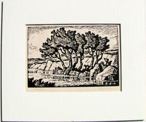 Birger Sandzen Original Block Print Pencil Signed --  Kansas Creek -- 1936