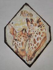 Schieferplatte bemalt, bedruckt, Afrika Giraffen