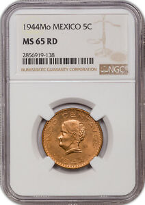 1944-MO MEXICO 5 CENTAVOS MS65 RD NGC ONLY 8 GRADED HIGHER