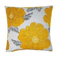 "POPPY OCHRE GOLD YELLOW SILVER CHENILLE FLORAL THICK CUSHION COVER 18"" - 45CM"
