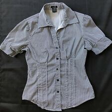 Rue 21 Shirt Button Down Womens Womens Size S Small Striped Puff Cap Sleeve