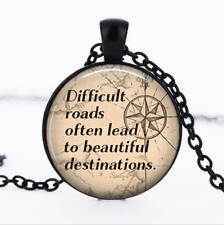 Difficult Roads often Black Glass Cabochon Necklace chain Pendant Wholesale