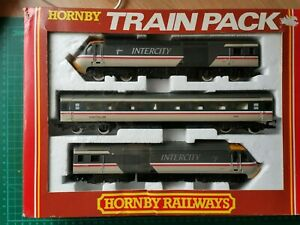Hornby R397 BR Intercity (Swallow) 125 HST. Power car, Dummy and Coach.(Used)