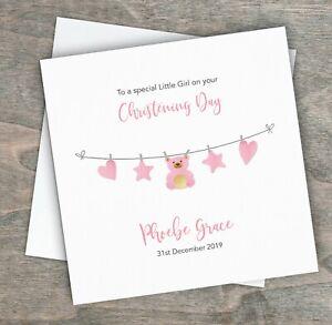 Personalised Handmade Christening Day Card Baby Girl Daughter Niece Goddaughter