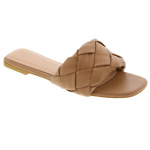 New Women's Braided Quilted Single Band Strap Flat Squared Toe Open Slide Sandal