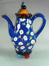 Jameson and Tailor Designkanne Teekanne hocheckig blau mit weißen Blüten 1401