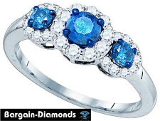 blue diamond 1.0 carats engagement cocktail anniversary 10K gold ring band love