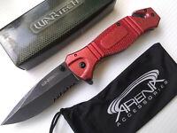 Glass Breaker PocketKnife Red Stonewash Spring Assist Flipper Metal EDC Tool