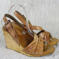 Michael Kors Studded Platform Wedge Slingback Leather Sandals Brown Size 7M