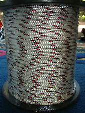 8mm x 100m Polyester Double Braided YACHT Rope ~Black/Red Fleck~STRONG 1341kg