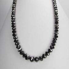 5 mm ;34 Inches Faceted Black Diamond Beads Necklace  Gift Anniversary