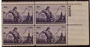 Scott 1060 3¢ Nebraska Territorial Centennial Block of 4 MNH Free Shipping