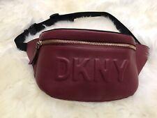 DKNY Tilly Logo Fanny Pack Women Waist Belt Bag Leather Red Scarlet / Gold $128